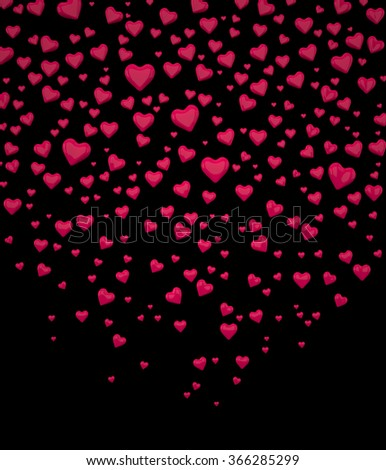 Background of Hearts. Red Hearts. Valentine's Day Hearts. I Love You symbol. Confetti of Hearts. Rendering in 3D Program - stock photo