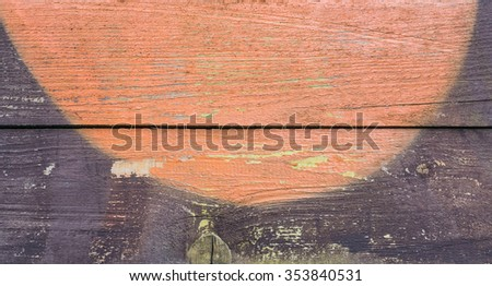 Background of horizontal old planks with pattern of orange and brown colors