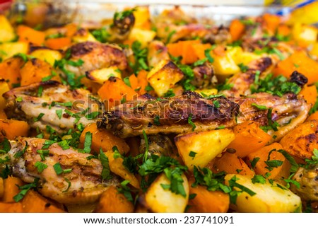 background of hot steamed vegetables, chicken meat - stock photo