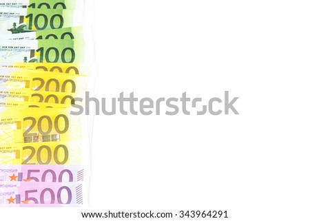 Background of hundreds euro on left. Isolated photo of an object. - stock photo