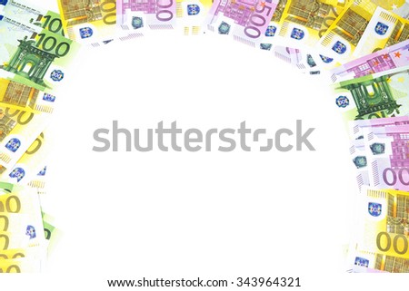 Background of hundreds euro on right left and bottom. Isolated photo of an object. - stock photo