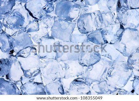 Background of ice cubes close up