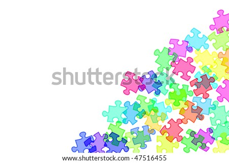 background of illustration of puzzle pieces of different colors