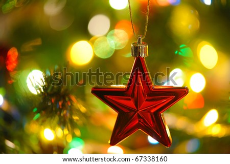 background  of inside decorated Christmas fir tree with colorful lights - stock photo