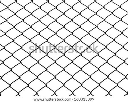 background of iron chain net fence in black and white - stock photo