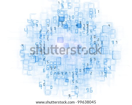 Background of irregular three dimensional units and numbers on the subject of data storage, data cloud and modern technologies - stock photo