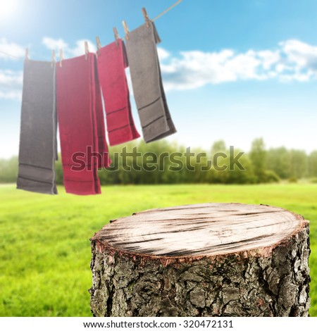 background of laundry on rope and textile towels  - stock photo