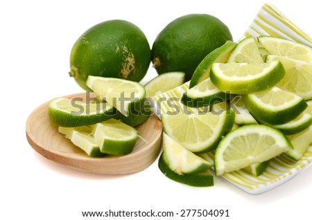 background of limes isolated on white  - stock photo