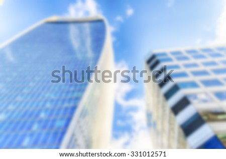 Background of London Business District Skyscrapers. Intentionally blurred post production - stock photo