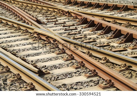Background of lots of rails crossing - stock photo