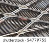 background of lots of rails crossing seen from above - stock photo