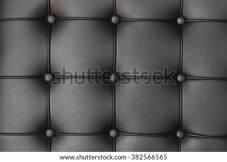 Background of luxury buttoned black leather - stock photo