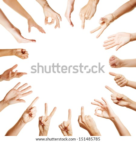 Background of many hands forming a circle with different gestures - stock photo