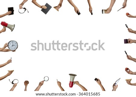 background of many hands holding objects - stock photo