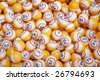 Background of many yellow lottery bingo balls - stock photo