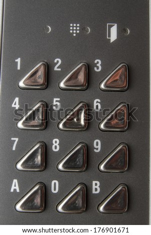 Background of metal Numeric keyboard  - stock photo