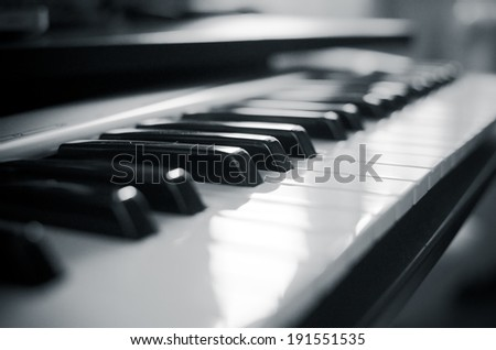Background of midi controller piano keyboard