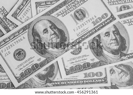 Background of money american hundred dollar bills - stock photo
