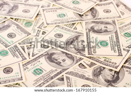 Background of Money Cash Dollars for business closeup. Concept of Time is Money. Isolated, Space for Text