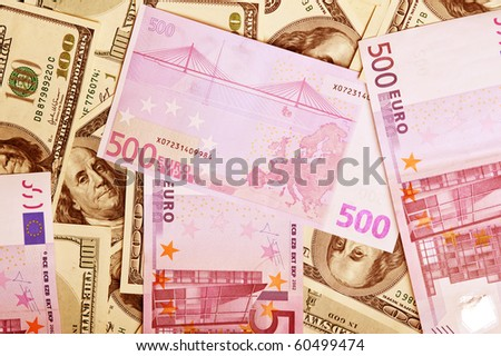 background of money dollars and euro - stock photo