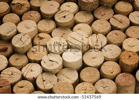 background of natural corks used - stock photo