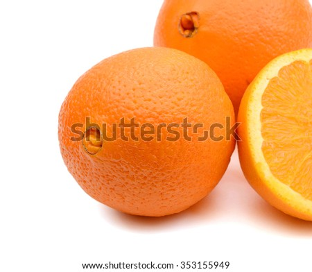 background of navel orange isolated on white