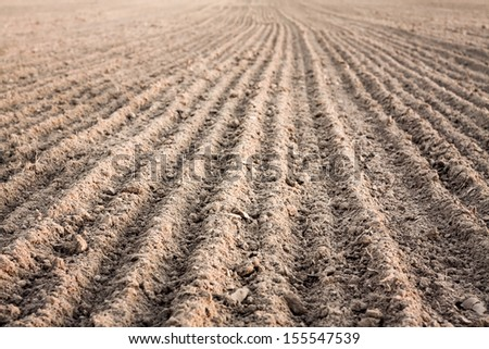 Background of newly plowed field ready for new crops. Ploughed field in autumn. Farm, agricultural background - stock photo