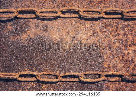 Background of old and rusty chain on metal - stock photo