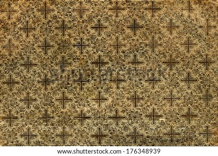 background of old books with golden crosses - stock photo