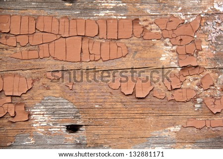 Background of old painted wood fragment