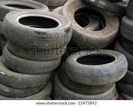 Background of old tires stacked
