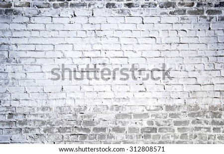 Background of old white brick wall texture - stock photo