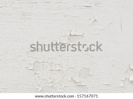 background of old white peeled paint remain on plywood wall. - stock photo