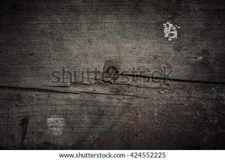 Background of old wooden boards with traces of paint. Toned.