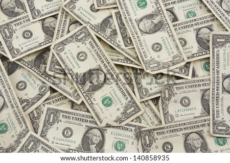 Background of one dollar bills. - stock photo