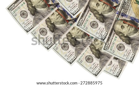 background of one hundred dollar bill cutout  - stock photo