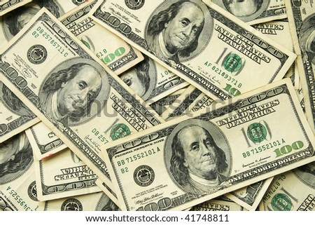 background of one hundred dollar United States bills - stock photo