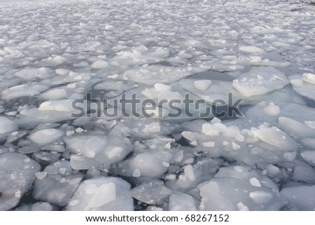 Background of pack ice in the harbour of Nyborg, Denmark in january. - stock photo