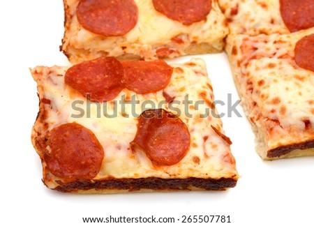 background of pepperoni pizza isolated on white  - stock photo