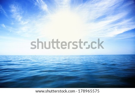 Background of perfect sky and water of ocean