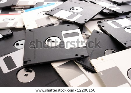 Background of pile of floppy disks - stock photo
