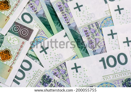 Background of 100 PLN (polish zloty) banknotes  - stock photo