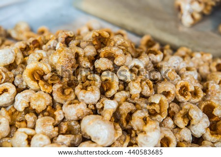 Background of pork cracklings, Thailand
