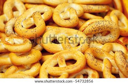 background of pretzels - stock photo