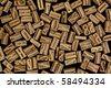 background of randomly placed wooden letterpress printing blocks, black background - stock photo