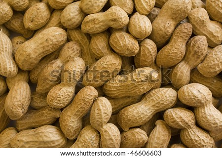 Background of raw peanuts in shell.