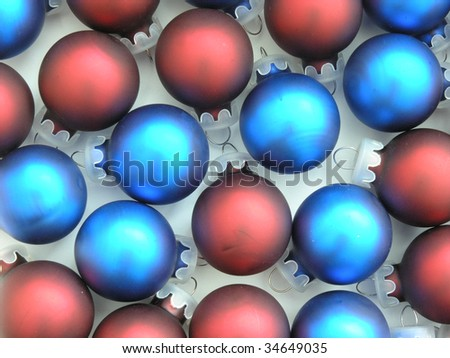 background of red and blue Christmas tree ornaments - stock photo