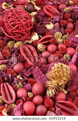 Background of red and golden scented Christmas potpourri. - stock photo