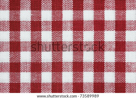 background of red and white check picnic tablecloth fabric - stock photo