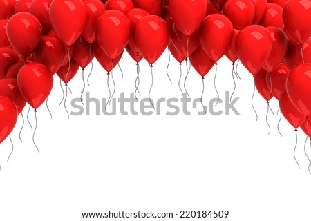 Background of red balloons - stock photo